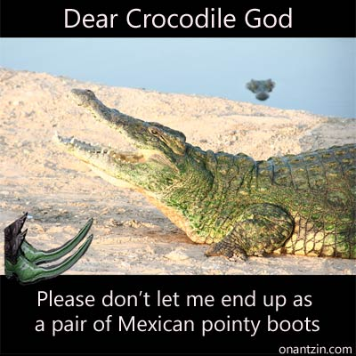 Meme - Dear Crocodile God. Please don't let me end up as a pair of Mexican pointy boots.