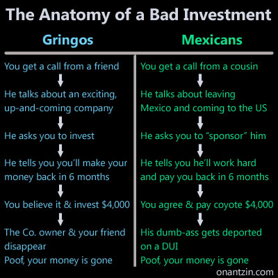 Meme - Anatomy of a bad investment: Gringos vs Mexicans