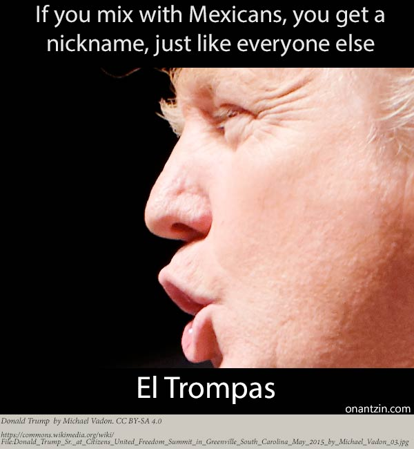 Meme Donald Trump -- You mix with Mexicans, you get a nickname, just like everyone else: El Trompas