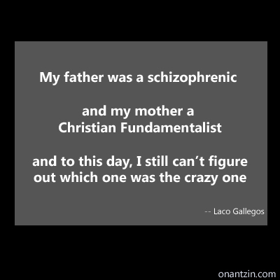 Meme - My father was a schizophrenic and my mother a Christian Fundamentalist, and to this day, I still can't figure out wh