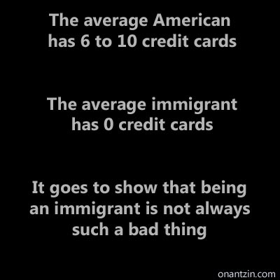Meme - Average number of credit cards, per American vs Immigrant