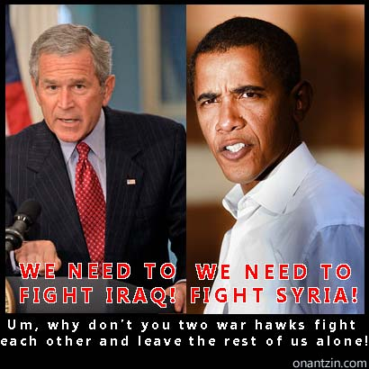 Meme - Obama and Bush war hawks on Syria and Iraq